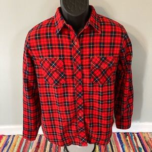 70s Sears Plaid Flannel Shirt Striped Red Large